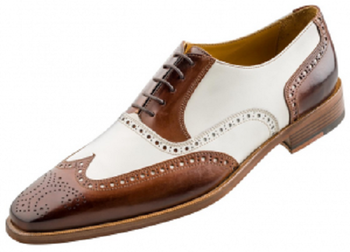Men Brogue Wingtip Brown And White Formal Dress Shoes Fws 165 Curvento