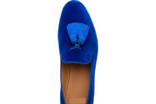 Mens Royal Blue Tassels Loafer Velvet