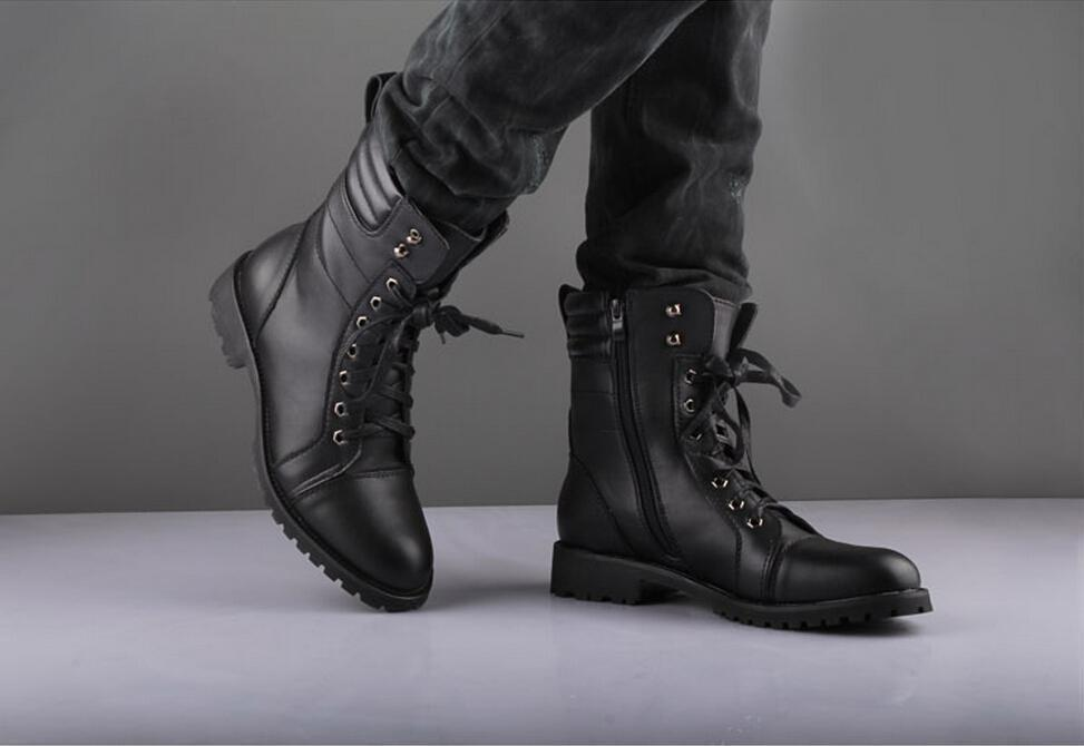 Men Black Military Style Leather Ankle