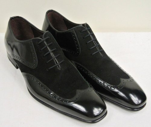 Men Black Wing Tip Suede And Leather Dress Shoes Fws 232 Curvento