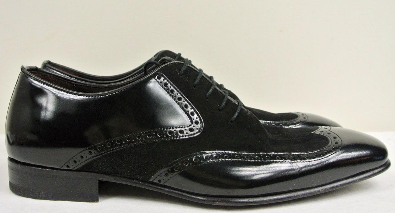 4c7f8ec85 Men Black Wing Tip Suede and leather Dress Shoes FWS-232 — Curvento