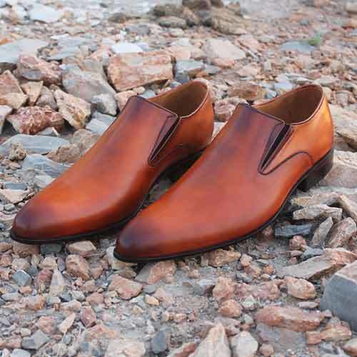 Handmade men Tan brown leather shoes
