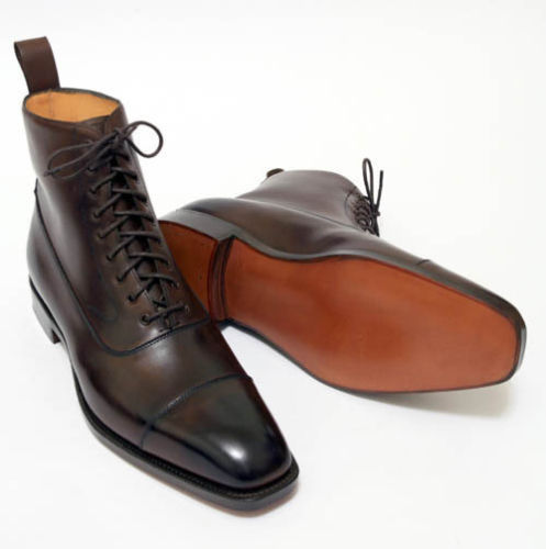 002d09a5861c1 Dark Coffee Brown Leather Ankle High Boots Handmade Cap Toe CMB-340 ...