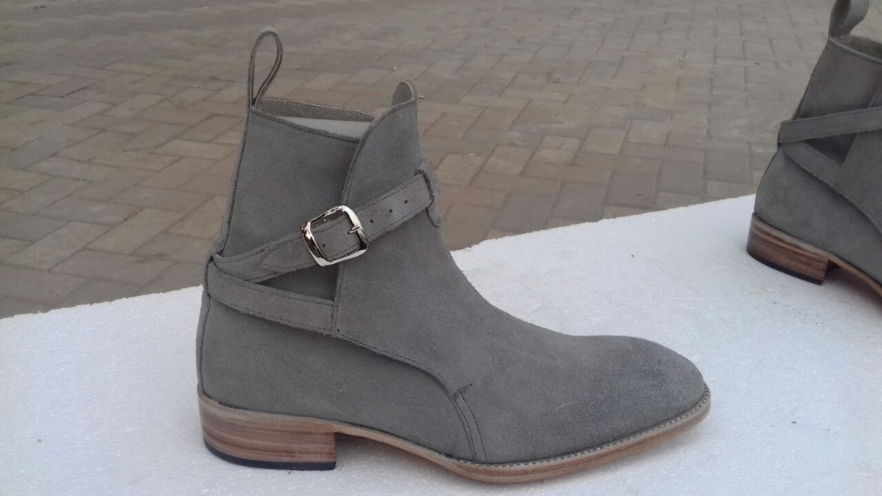 0547dc267a Handmade Jodhpurs Ankle Boot Men Gray Ankle High Suede Leather boots CMB-347