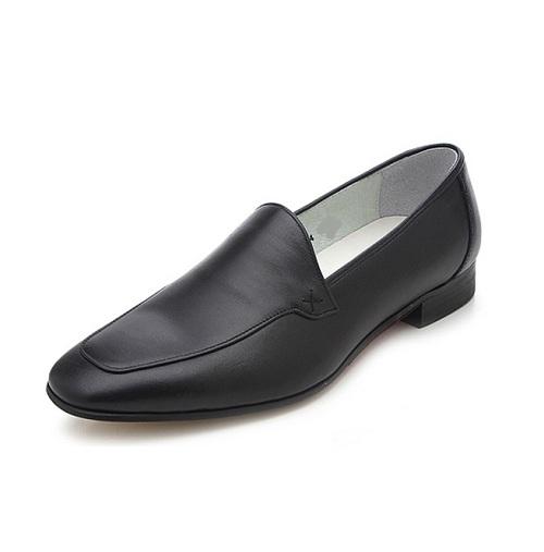 black leather moccasins mens