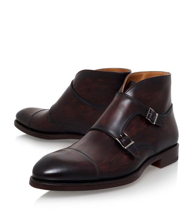 c305dde0ccca 392-1 Handmade men brown boots, double monk strap boot, men formal monk