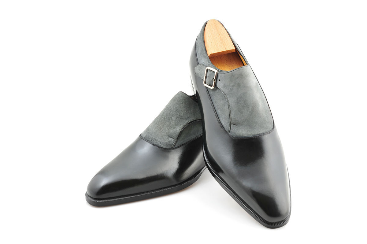 589f7b84c94a2 Handmade Men's Monk Strap Office Shoes Two Tone Shoes FWS-495 — Curvento