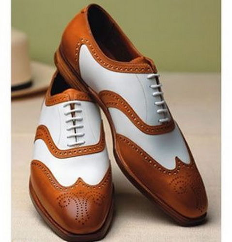 Mens Latest Unique Brogue Two Tone Leather Shoes Fws 511 Curvento