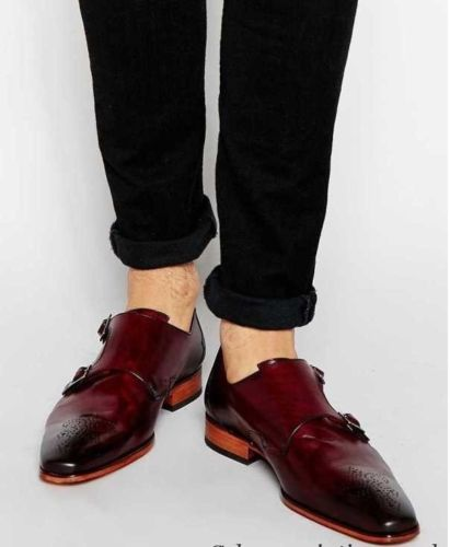 071be96071e Men burgundy color monk strap shoes FWS-523 — Curvento
