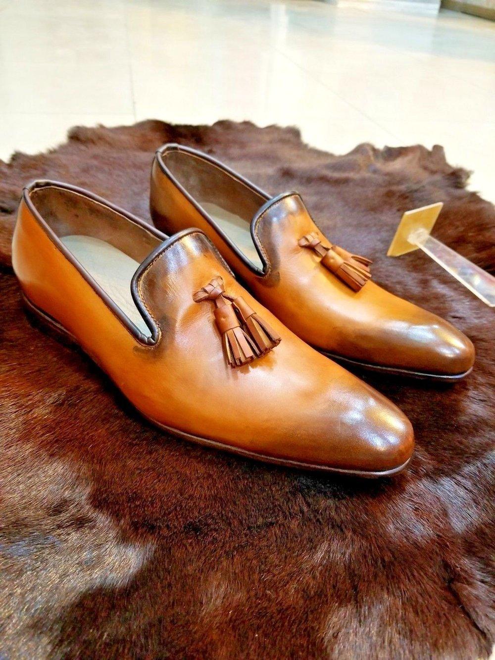 Mens Handmade Shoes Genuine Tan Leather