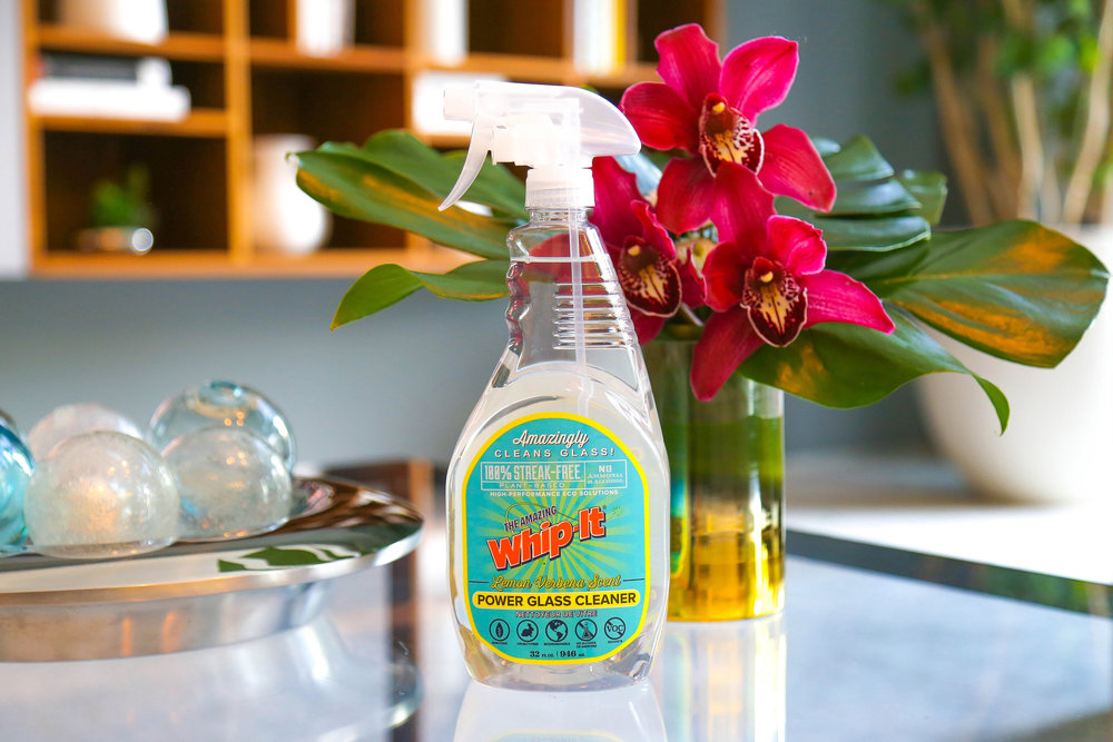 Power Glass Cleaner - Pushing plant-based technology. 100% Streak-Free, Contains NO Ammonia or Alcohol... infused with essential oils of lemon verbena!