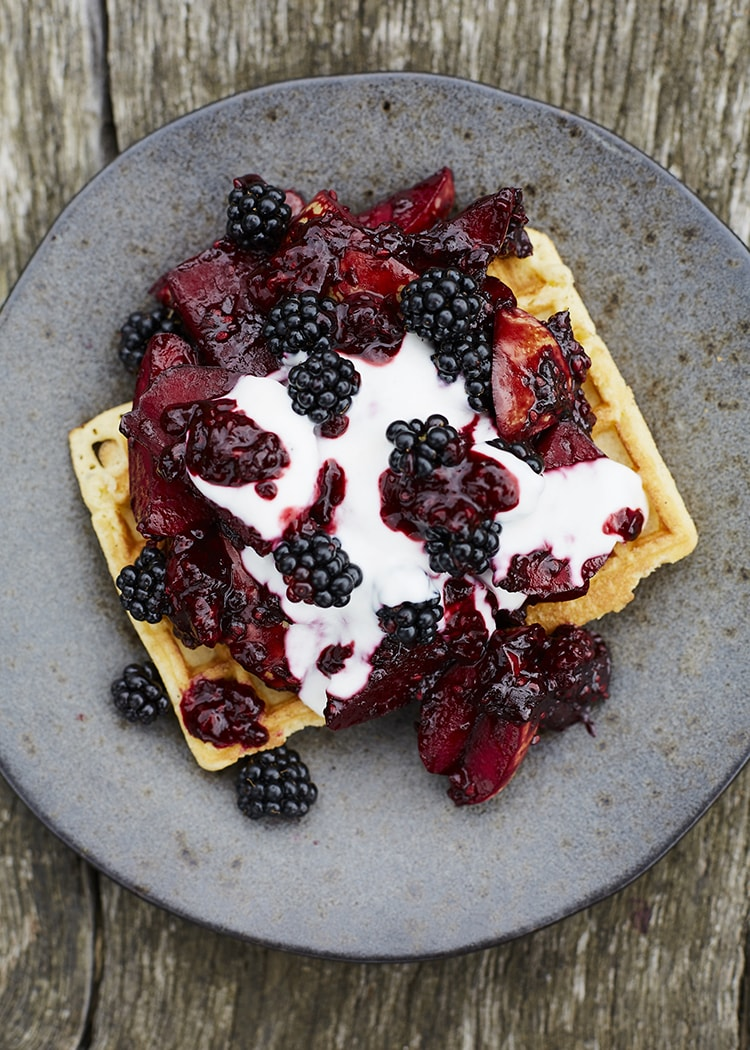 Blackberry and Apple on Waffles