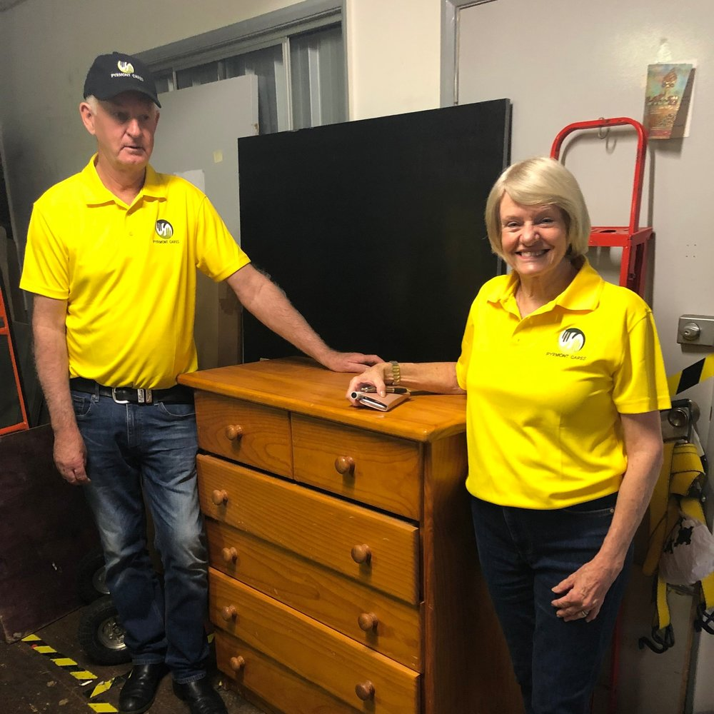 Volunteer Helen and Adrian ready to load the truck for delivery on a regular Wednesday.