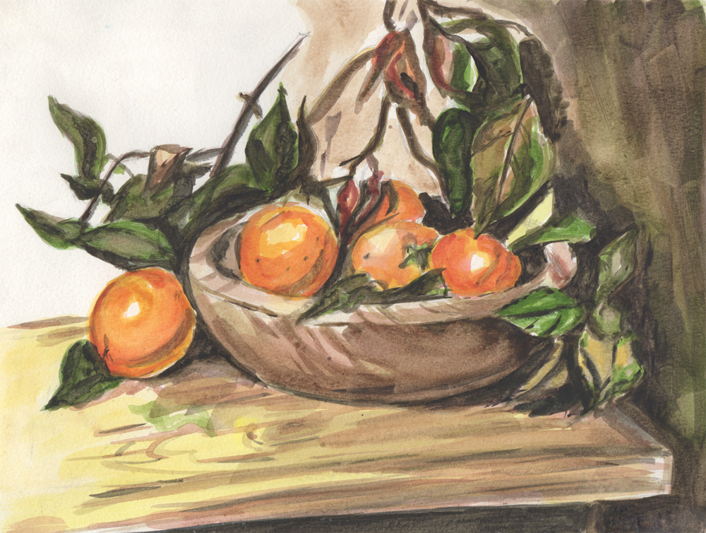 Oranges.  2001 // watercolor still life study // artwork reproduction  // homework assignment.