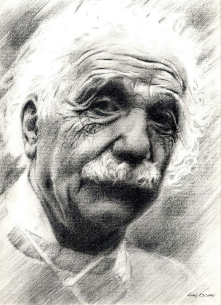 Albert Einstein.  2001 // graphite pencil drawing.