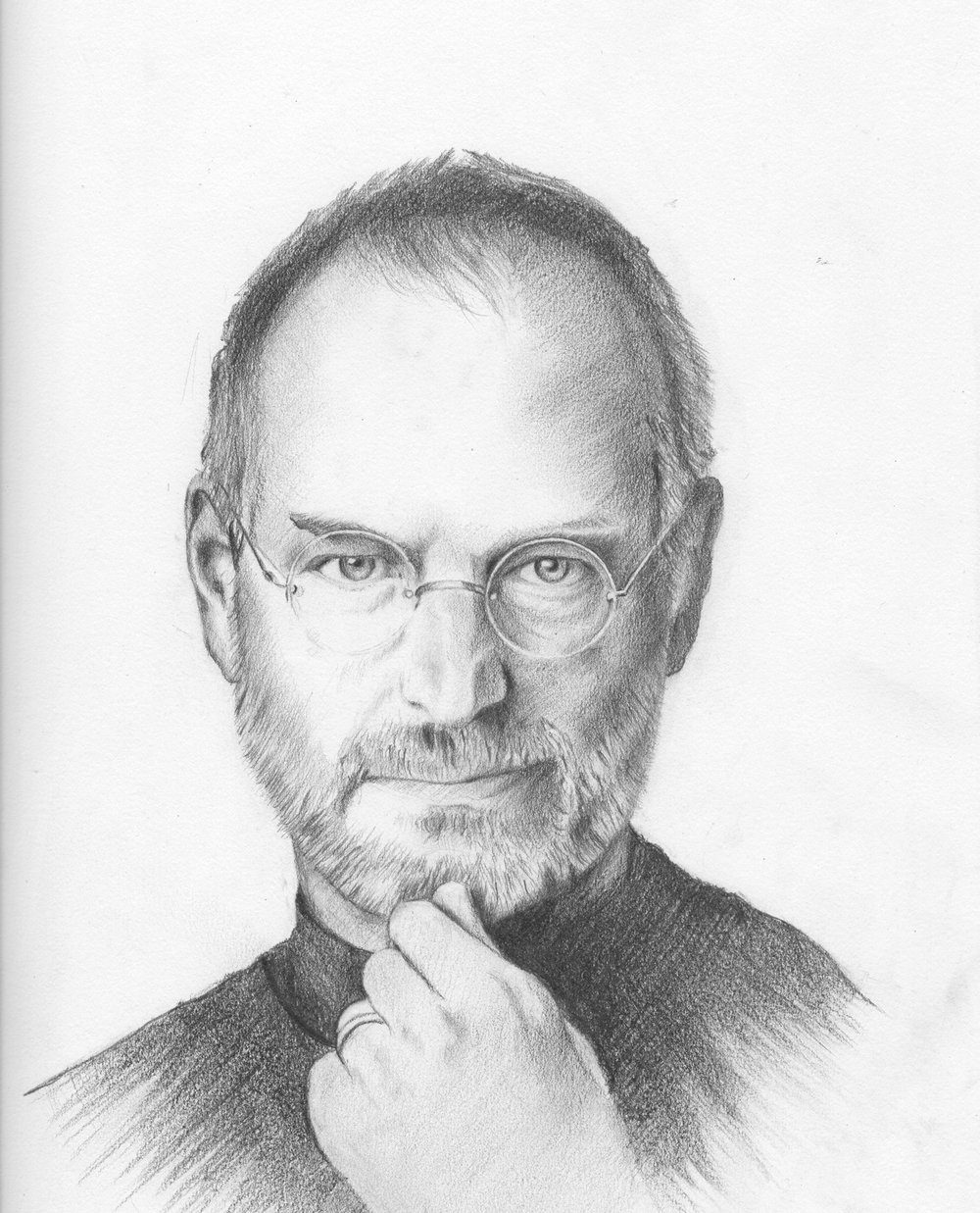 Steve Jobs.  2012 // graphite pencil portrait drawing.