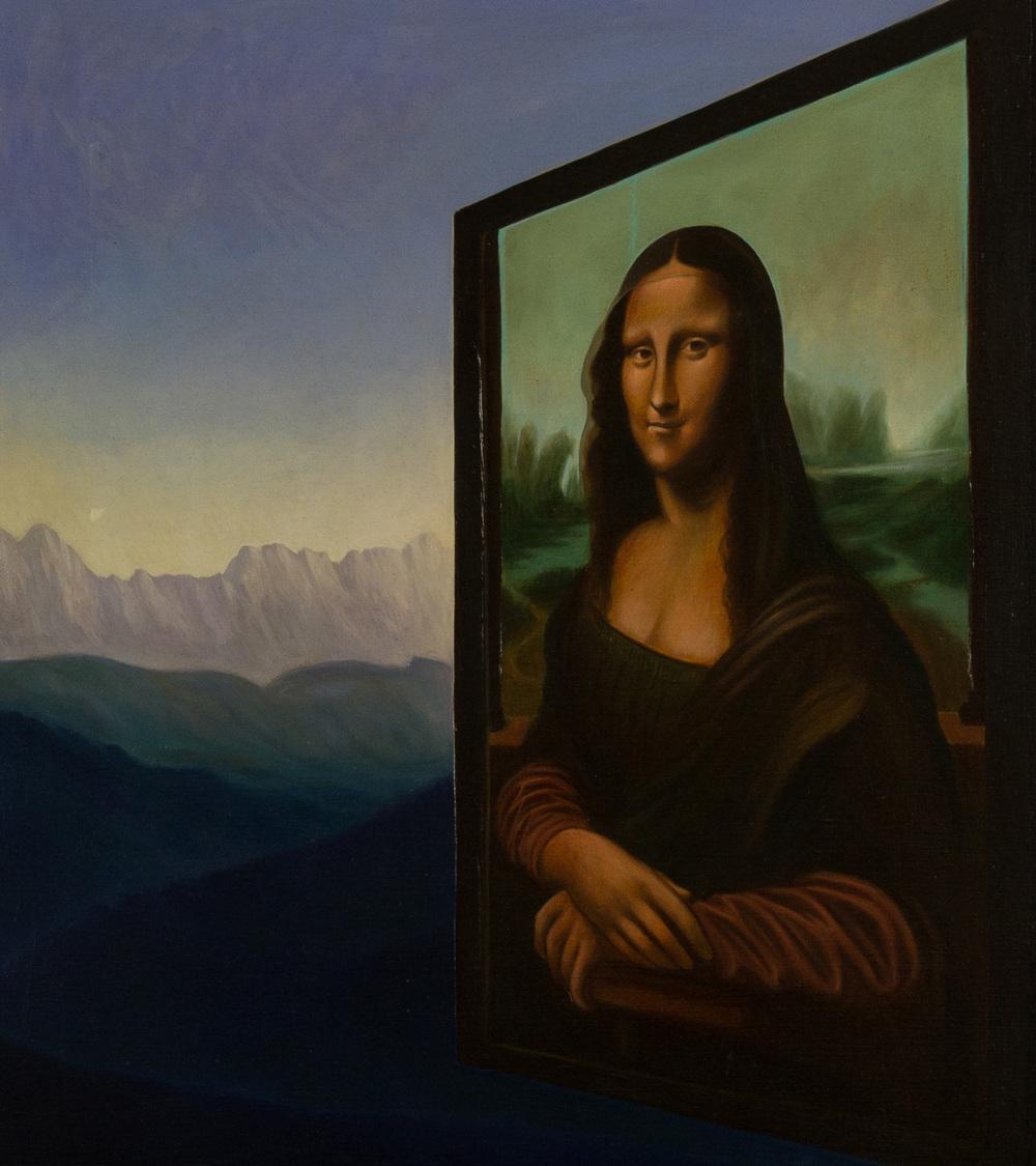 Dentro la pittura ,  olio su tela, cm 70x80, 1993