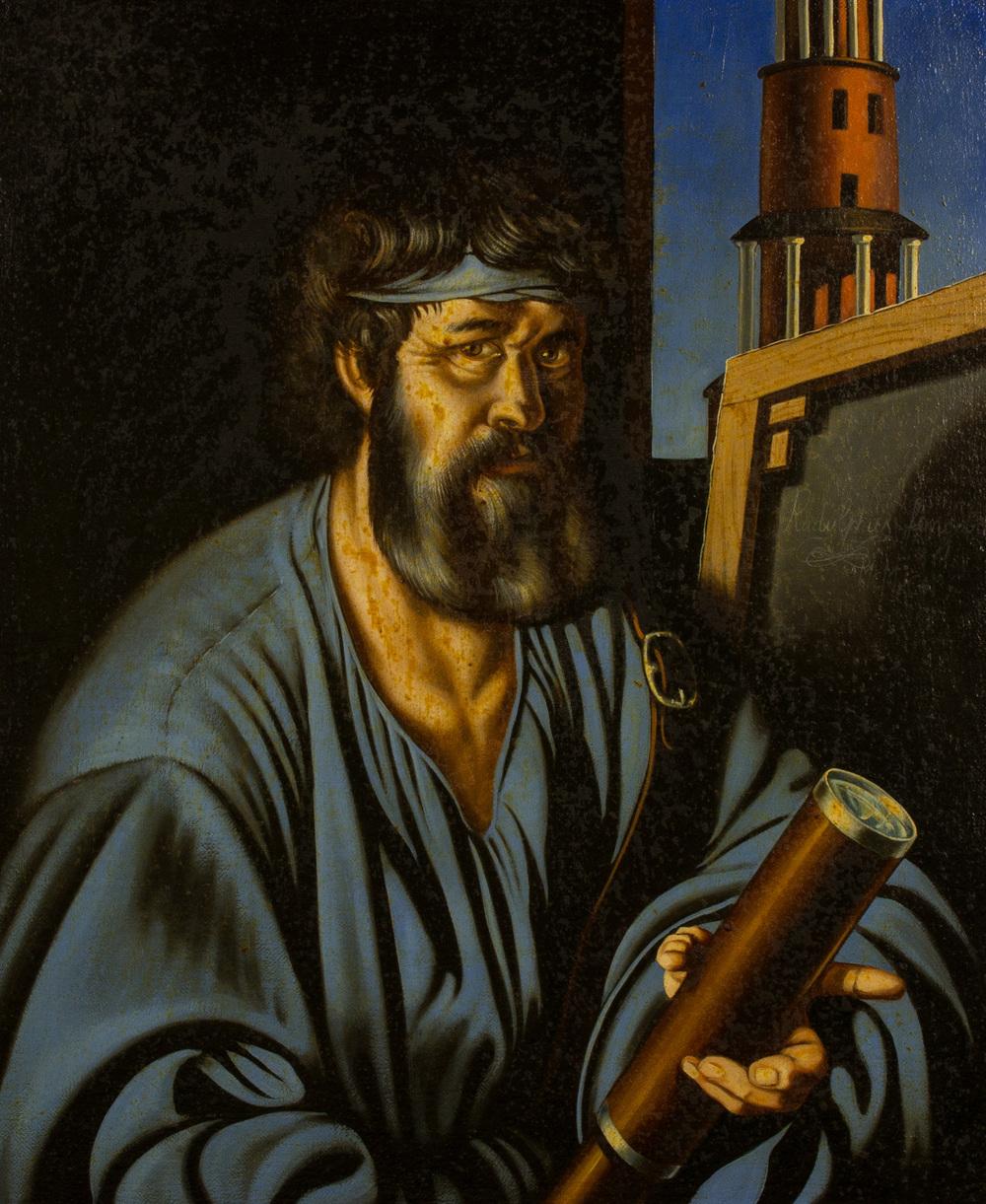 Ulisse a Itaca ovvero il lento ritorno a casa dell'artista. Il luogo dell'arte ,  olio su tela, cm 60x50, 1996