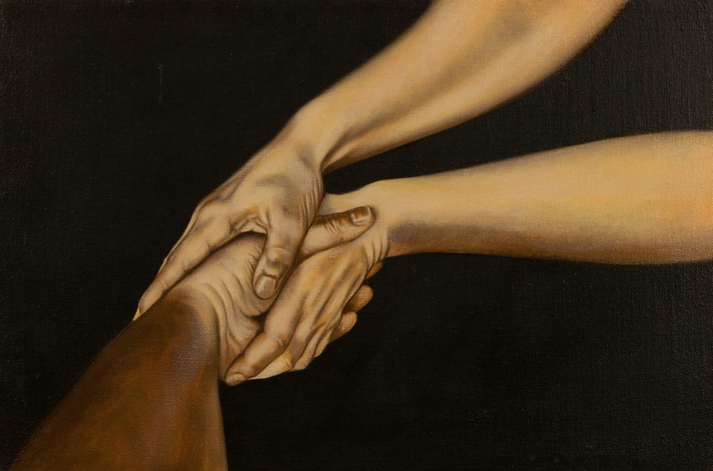 Proposizione (articolata),  olio su tela, cm 40x60, 1996