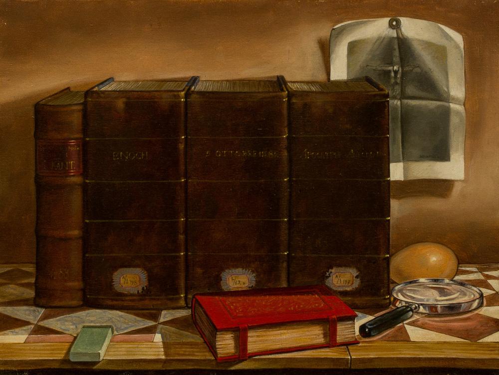 Ex libris ,olio su tela, cm 30x40, 1992