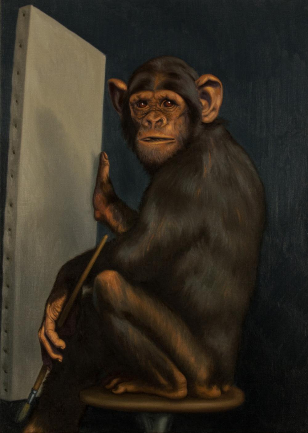 L'artista contemporaneo. Omaggio a Gabriel von Max , olio su tela, cm 50x70, 2007