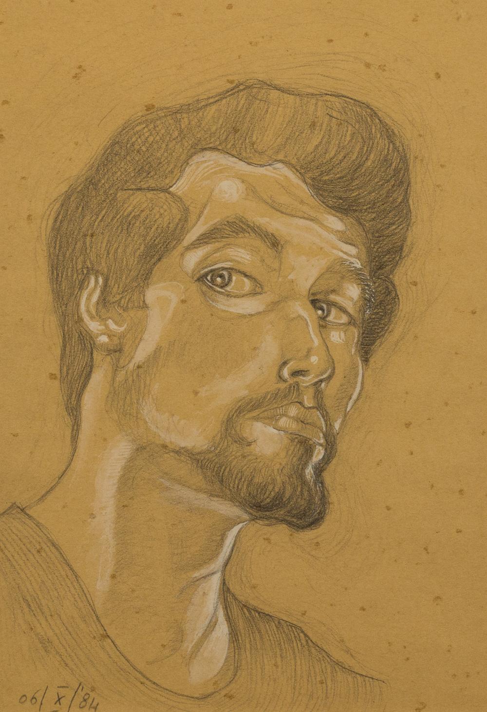 Autoritratto,   grafite e biacca su carta giallina, 1984