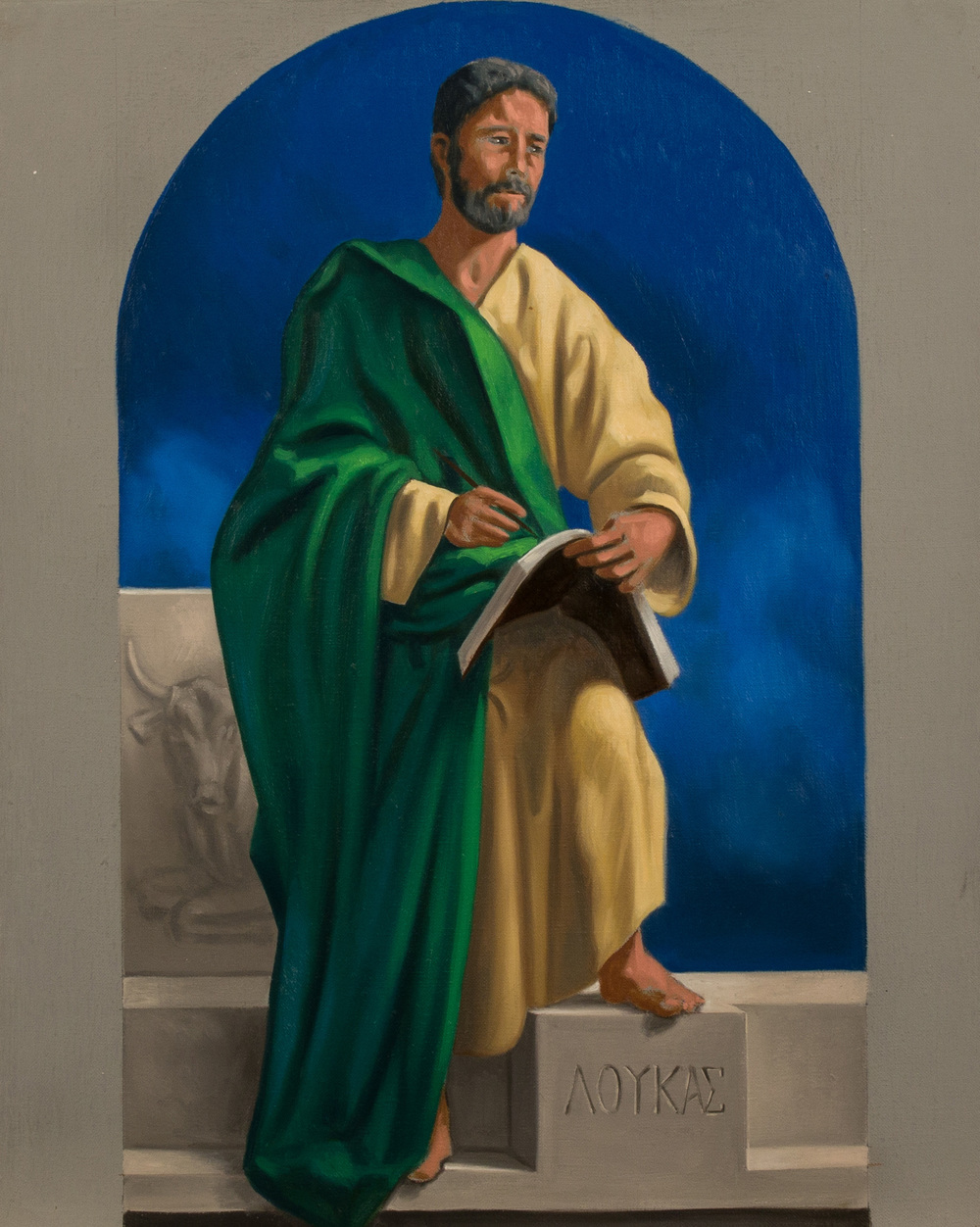 Bozzetto. San Luca , Ciclo dei Quattro Evangelisti per l'Aula Magna della PUU, olio su tela, cm 50x40, 2014