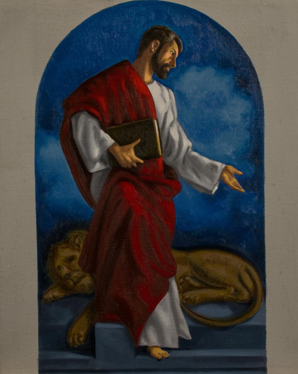 Bozzetto. San Marco , Ciclo dei Quattro Evangelisti per l'Aula Magna della PUU, olio su tela, cm 50x40, 2014