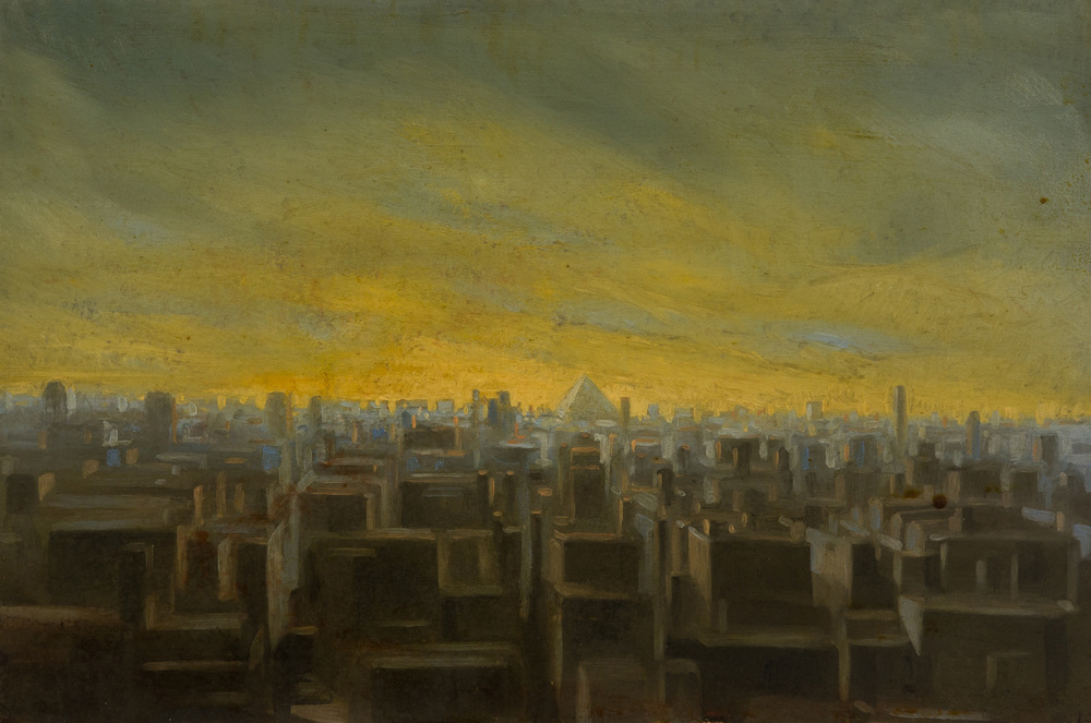 The tower of Babel ,  oil on board, cm 20x30, 1996