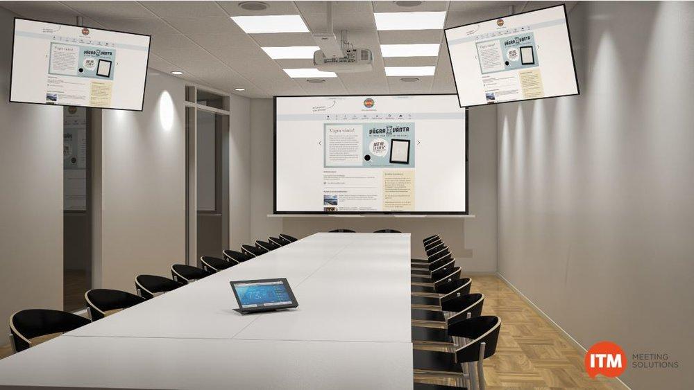 Exempel på lösning i ett långsmalt rum. I främre delen monteras en filmduk med en Laserprojektor. För de som sitter längre bak monteras 2 st 50-tumsskärmar. I taket sitter en takmikrofon från ClearOne.. Mikrofonen har brusreducering, ekosläckning och s.k full duplex för att ge bästa möjliga ljudåtergivning. Allt styrs från den intuitiva LCD-panelen på bordet.