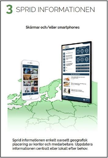 Sprid informationen  Använda digitala skärmar och smartphones som effektiva informationskanaler till organisationen. Du kan styra var informationen publiceras och rikta dina budskap till plats och målgrupp i rätt tid.