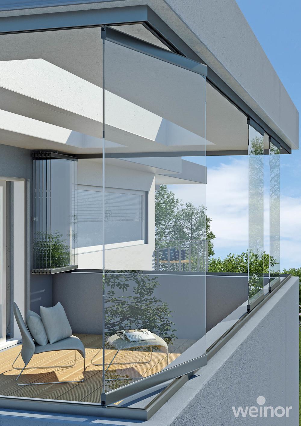 Ganzglaselemente auf Balkon/Loggia