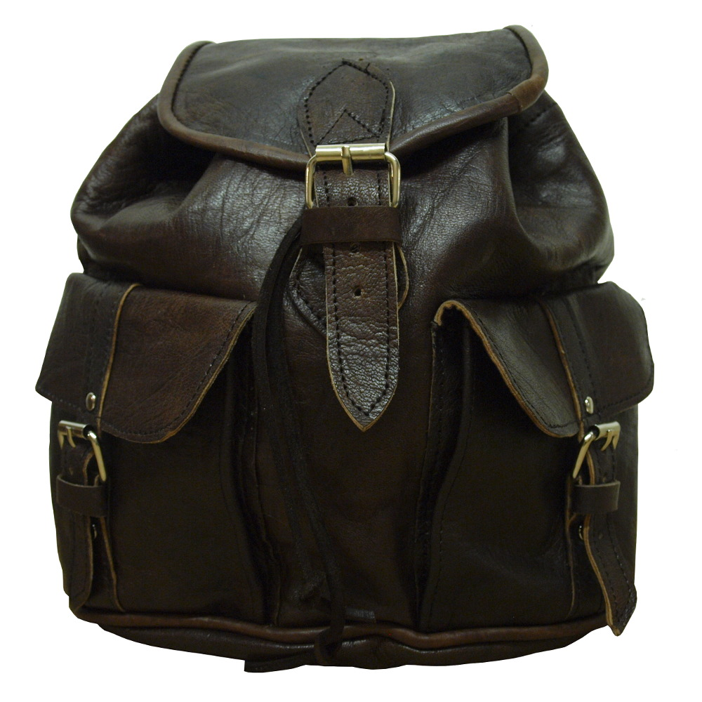 907f26be6d56 Small Leather Rucksack Dark Brown — Berber Leather