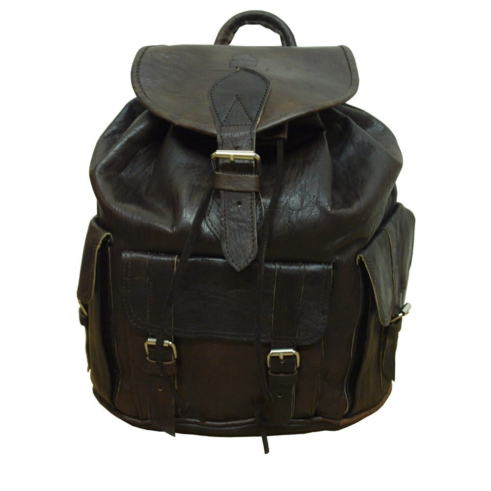 5f4c8cd3218 Large Leather Rucksack Dark Brown