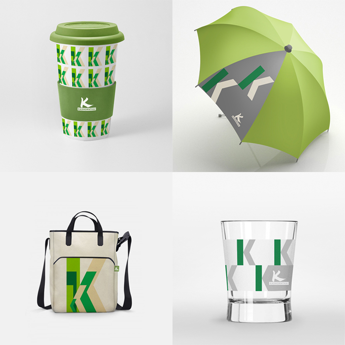 """KASIKORN GIFT  Kasikorn new year gift design for customers ,The concept design Based on the Ci concept green color and """"K"""" for to Souvenir such as glass , bag , umbrella, etc"""