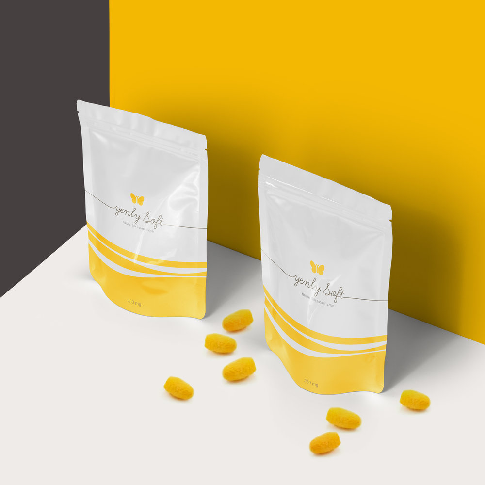 YENLY SOFT cocoon scrub : Logo / CI Branding / packaging. The line from cocoon is a inspiration for Design.