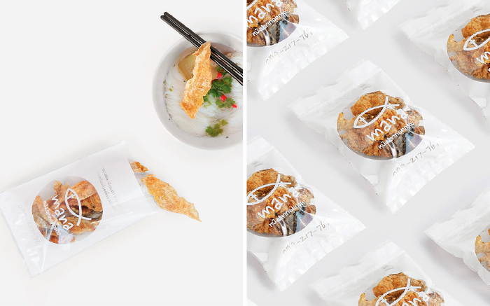 MANA Crispy fish : Logo / CI Branding / packaging  Crispy fish skin for the snack's brand for middle class consumer. The target is make the beautiful packaging for spot on the consumer's eyes with simple and white friendly colour.