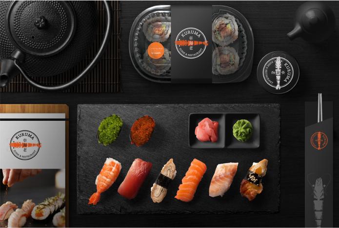 KURUMA Restaurant : Logo / CI Branding. The Sushi restaurant have a signature is a Sushi from Kuruma prawn. So that the Kuruma prawn is a concept branding design.
