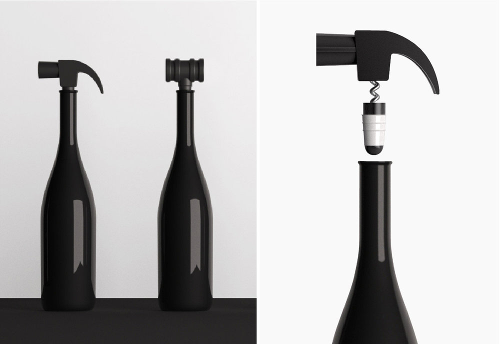 Wine cork Off & Open : Product Design. This is a wine cork 2in1 (Off & Open) and funny shape concept for user.