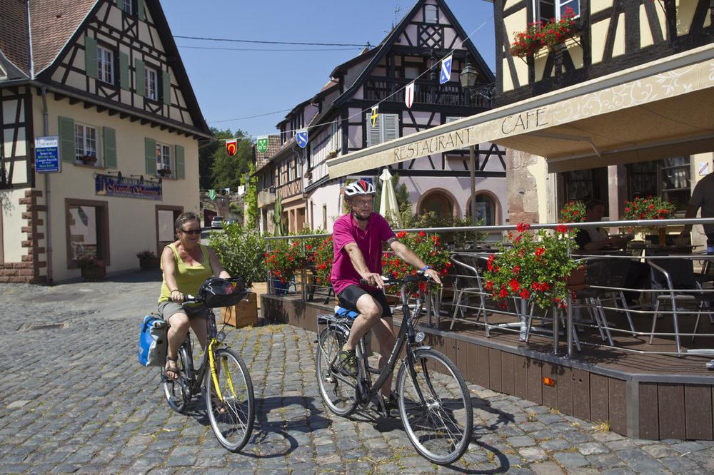 på cykel längs vinvägen i alsace