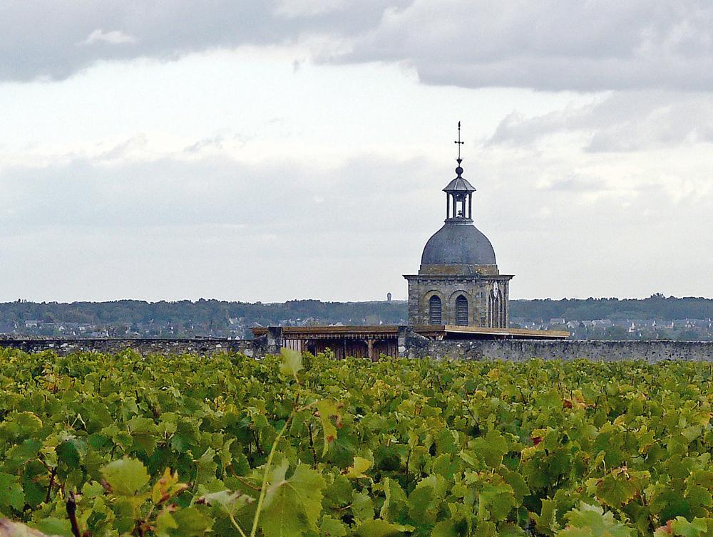 vouvray, över vinodlingarna reser sig kyrkans klocktorn. foto Tatmouss