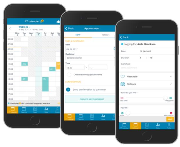Administrer dine avtaler i PT-kalenderen på app eller web. Logg økten for kunden underveis i økten.