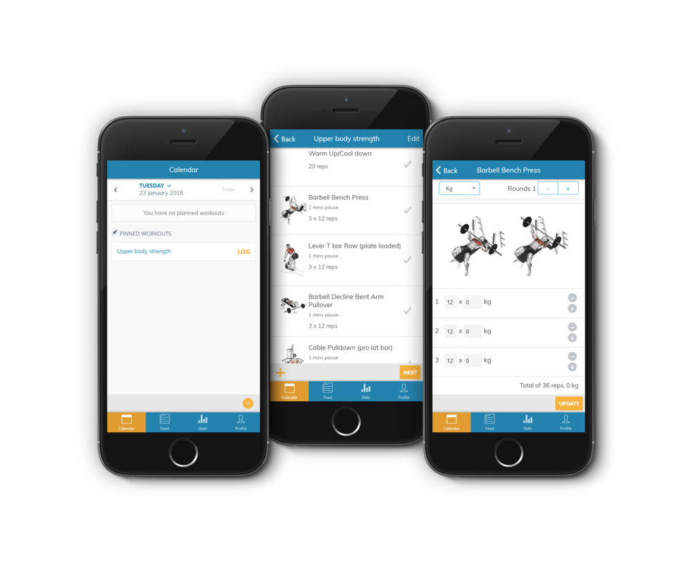 Log training and workouts on the app or web-client