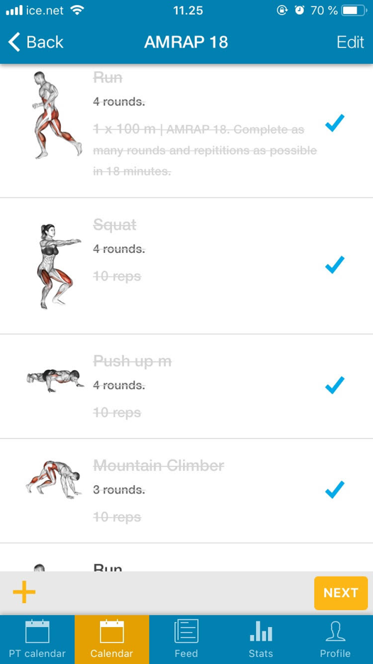 (1) Log rounds and reps for each exercise.
