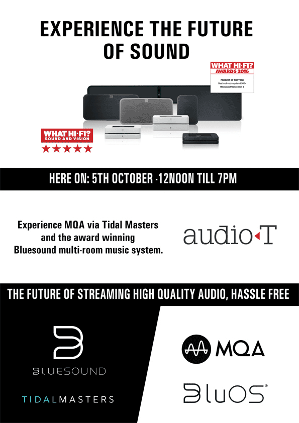 Bluesound Hi-Res Music Listening Event At Audio T Portsmouth — Audio T