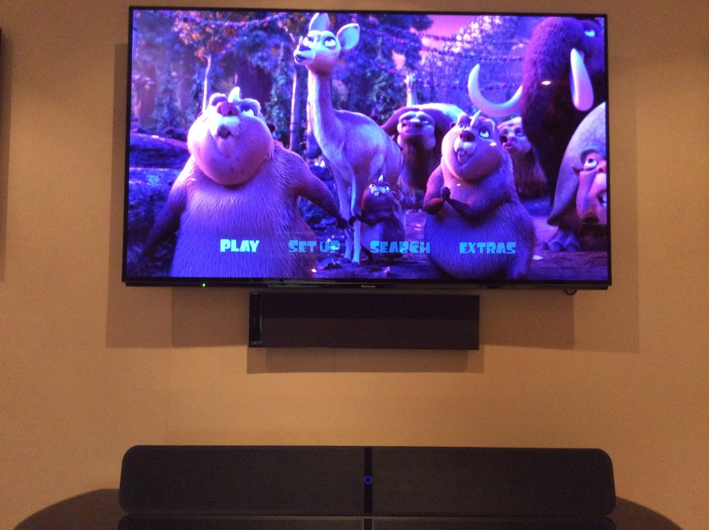"Pulse Soundbar under our 55"" Panasonic OLED TV"