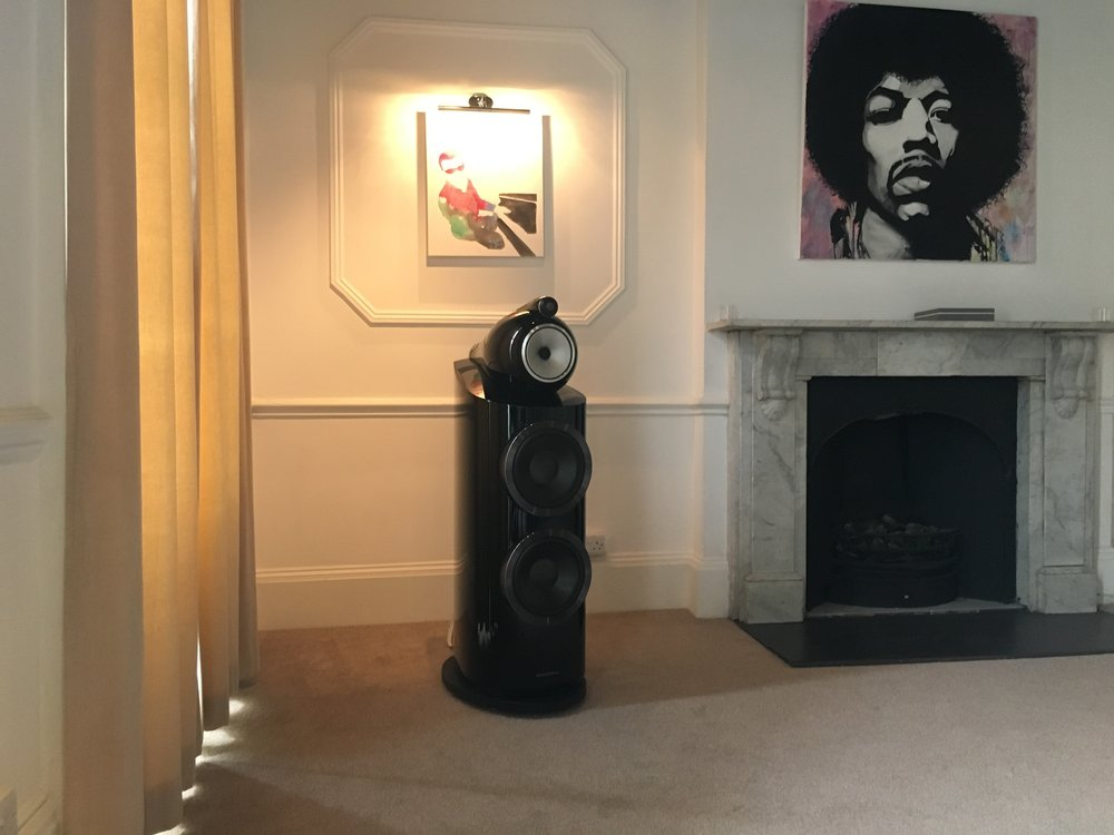 The Bowers and Wilkins 800 D3 loudspeaker. Perfect fit for our dem room.