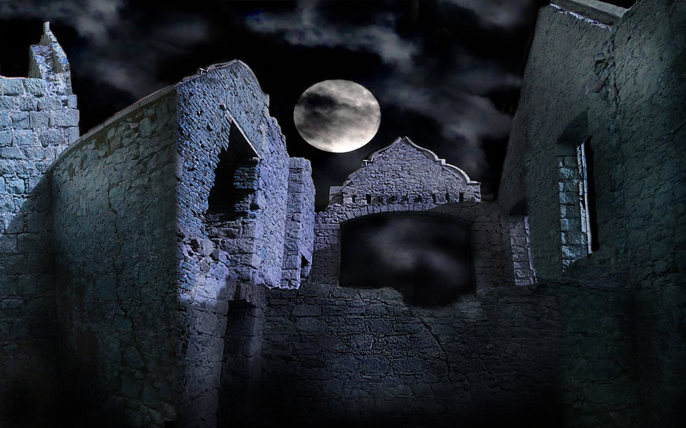 Slain's Castle in Aberdeenshire, thought to have inspired Bram Stoker to write Dracula.  Projection for Comedy Dracula.
