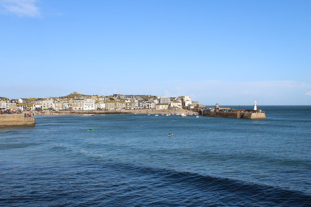 The view of St Ives from Porthminster beach.  Look at those blues on New Year's Eve!!