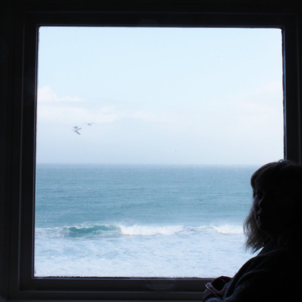 The view from a window in the Tate overlooking Porthmeor beach.